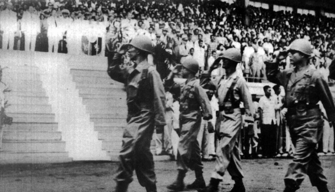 05 1950 10th BCT Philippine Expeditionary Force to Korea (PEFTOK) parades at Rizal Coliseum prior to deploying to Korea
