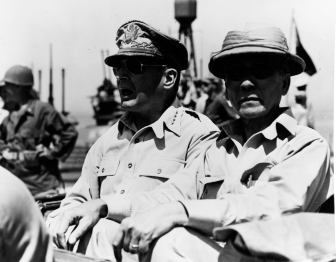 01 1944 Pres. Sergio Osmeña Sr. and General Douglas Hardy MacArthur (1880-1964) arriving in Leyte