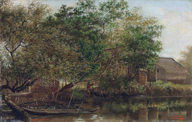 04 1876 Bank of the River Pasig by Félix Resurrección Hidalgo y Padilla (1855-1913)