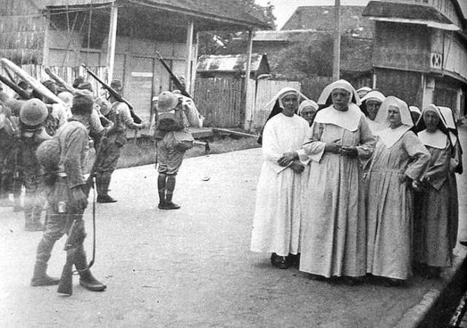 05 1942 Nuns being herded the Japanese Imperial Army, Manila