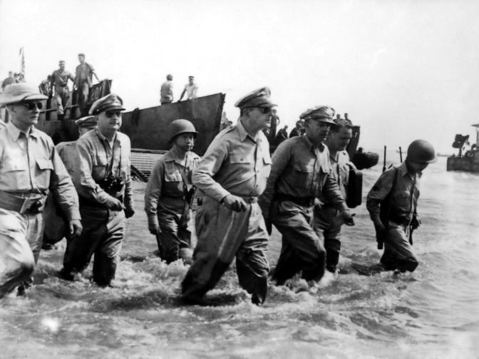 08 1944, October 20, General Douglas Hardy MacArthur (1880-1964) lands in Leyte