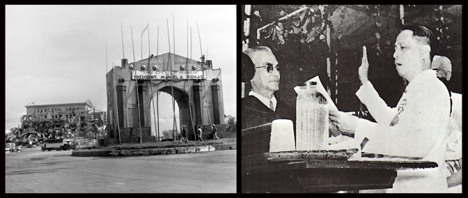 08 1946 Manila Welcome Arch & Manuel Roxas taking his second oath as President of the Third Republic