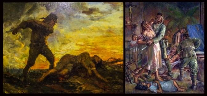 12 1942 The Rape of Manila by Fernando Cueto Amorsolo (1892-1972) & 1947 Rape and Massacre in Ermita by Diosdado Magno Lorenzo (1906-1984)