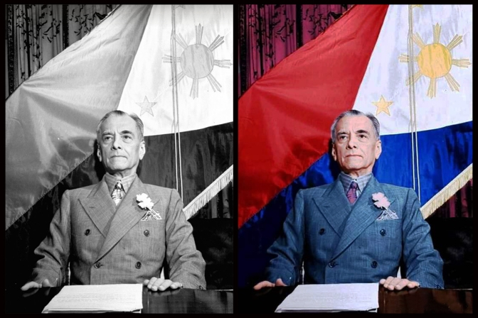 1941 Pres Quezon addressing the Filipino people with the reversed flag, 20 December