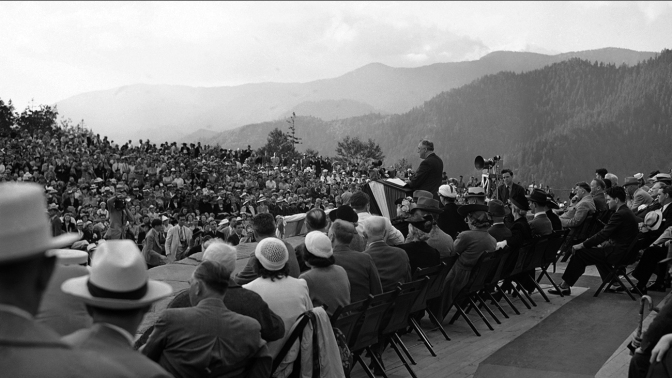 24 1940 President Franklin D. Roosevelt addressing a crowd at the Newfound Gap, Tennessee-North Carolina border