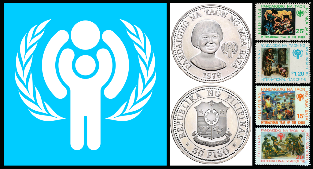 "1979 International Year of the Child: (left) Logo, (center) Commemorative Coin, (right) and Commemorative Stamps by Rodolfo ""Rod"" Fernando Dayao (1920-1991)"