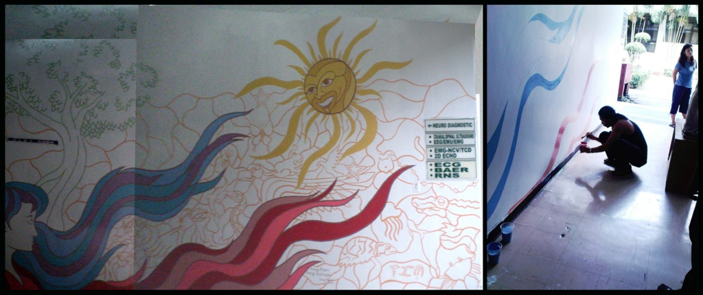 2009 Inag Bayan, Inang Kalikasan (Mother Land, Mother Nature) mural by the author at the PCMC, photograph of the author painting by Eduard Tom Pedria